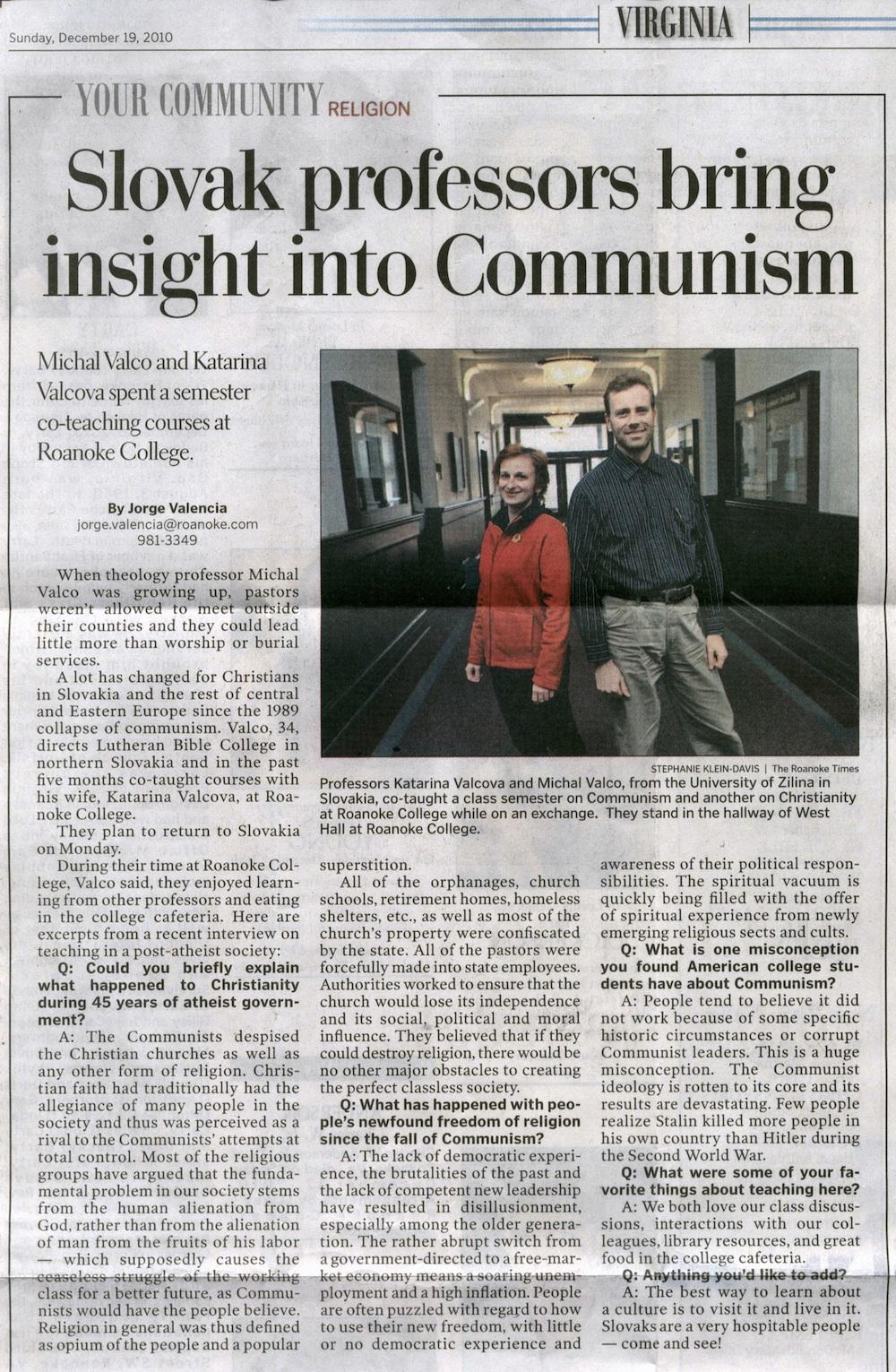 Slovak profesors bring insight into Communism